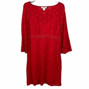 Laundry By Design Red Lace Floral Overlay Dress